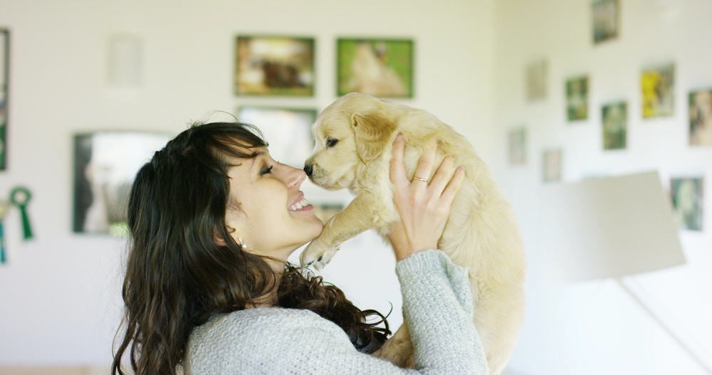 Smiling woman lifting up dog close to face