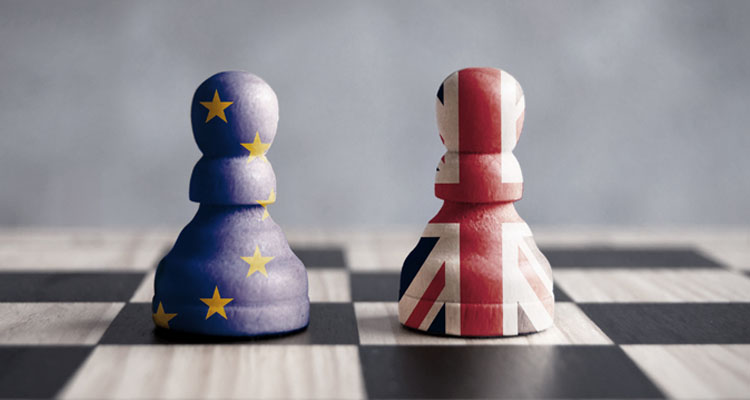 Chess pieces with EU and UK pieces