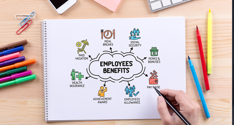 Employee Benefits drawn on notepad with all different benefits options