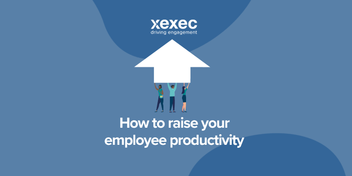 """Blue background with Xexec logo, three cartoon people holding a large white upwards arrow above the text """"How to raise your employee productivity"""""""