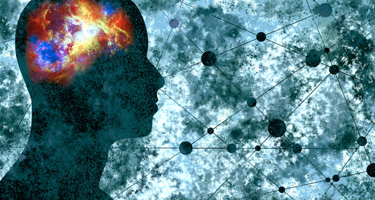 Abstract man with brain which is illuminated