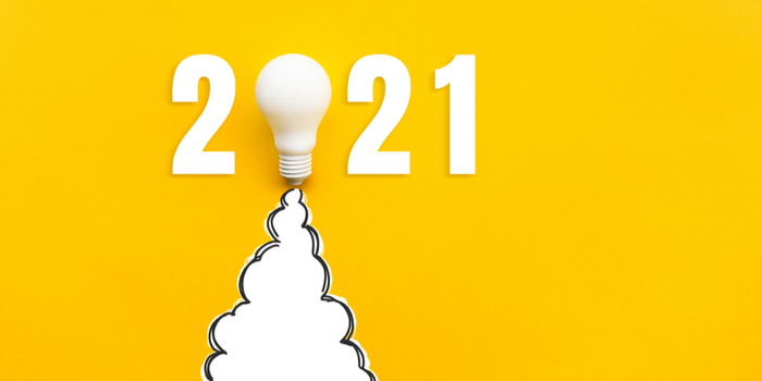 The year 2021 in white text on an orange backgound, the 0 replaced with a lightbulb, emitting a white cloud, to represent the theme of a staff engagement strategy